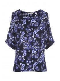 Womens Blue Bobble Trim Cold Shoulder Top