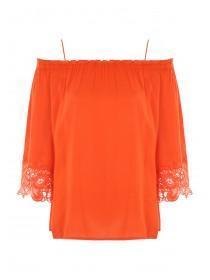 Womens Orange Off Shoulder Lace Top