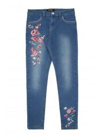 Older Girls Blue Embroidered Slim Jeans