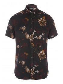 Mens Charcoal Floral Viscose Shirt