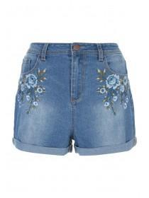 Womens Blue Floral Embroidered Denim Shorts