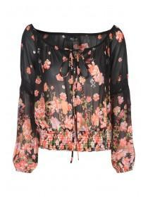 Jane Norman Black Floral Border Gypsy Top