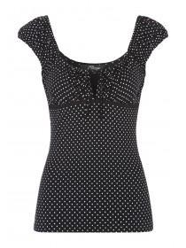 Jane Norman Black and White Spot Gypsy Top