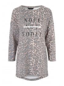 Womens Leopard Print Slogan Sweater
