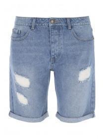 Mens Light Blue Raw Vintage Denim Shorts