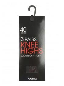 Womens 3pk 40 Denier Knee Highs