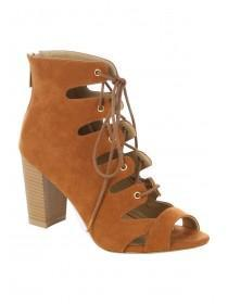 Womens Ghillie Lace Up Block Heels
