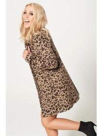 Jane Norman Leopard Print Funnel Neck Coat